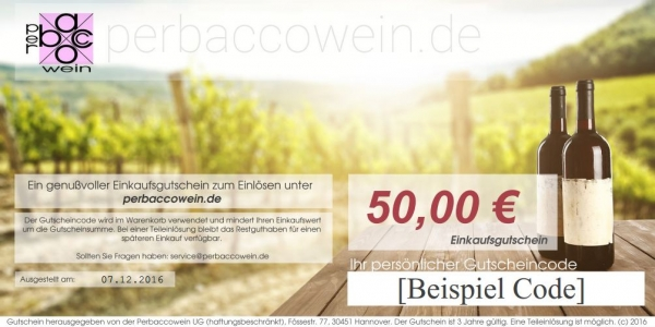 Geschenkgutschein über 50€ Perbaccowein
